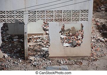 broken destroyed house
