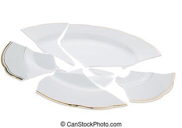 Broken dish - A broken dish is on a white background.