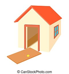 Broken door house icon, cartoon style