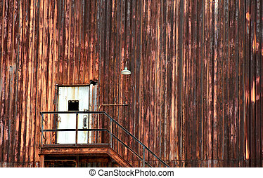 Broken Doorway - Background image shows industrial building...
