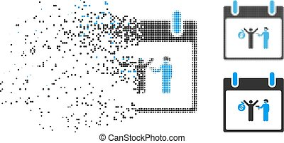 Broken Dot Halftone Arrest Calendar Day Icon - Arrest...
