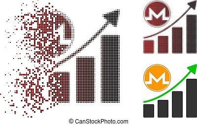 Broken Dot Halftone Monero Growth Graph Icon