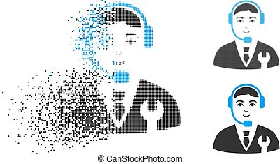 Broken Dotted Halftone Call Center Boss Icon with Face