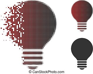Broken Dotted Halftone Electric Bulb Icon