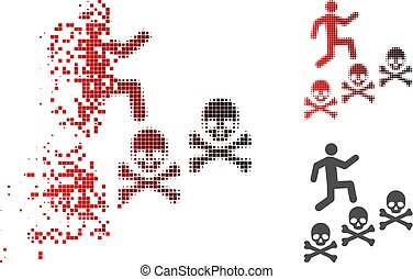 Broken Dotted Halftone Man Steps Deaths Icon