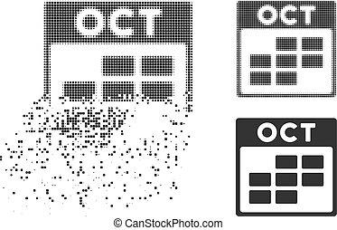 Broken Dotted Halftone October Calendar Grid Icon - October...