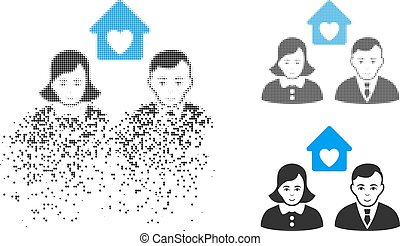Broken Dotted Halftone People Marriage Icon with Face - ...