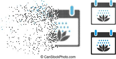 Broken Dotted Halftone Spa Shower Calendar Day Icon - Spa...