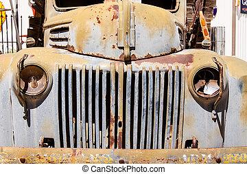 Broken down antique truck