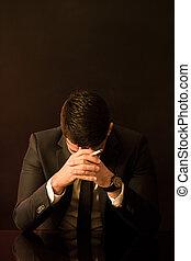 Broken down businessman