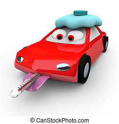 Broken Down Car - Thermometer - A red car is broken down and...