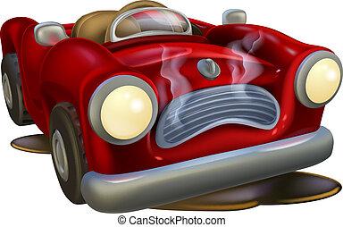 An illustration of a cute broken down cartoon car