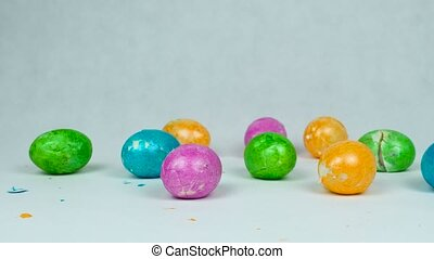 shattered Decorated eggs after Traditional Easter game egg jarping competition during Christian feast Pascha or Resurrection Sunday