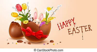 Broken Easter Chocolate Egg With Cheerful Easter Bunny And Spring Flowers Inside