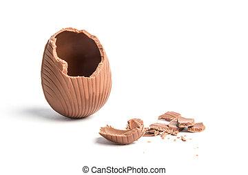 Broken easter egg - Broken chocolate easter egg on white...