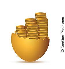 broken egg and coins illustration design