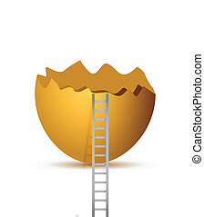 broken egg and ladder. illustration