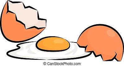 Broken Egg - Vector Illustration Of A Broken Egg