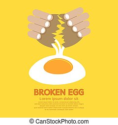 Broken Egg In Hand.