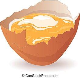 Broken egg isolated vector