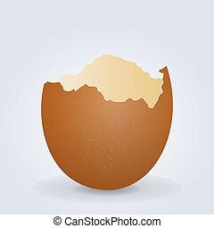 Broken Egg Shell - Illustration of Cracked Brown Egg Shell...