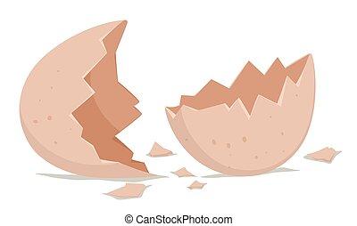Broken egg shell on the floor
