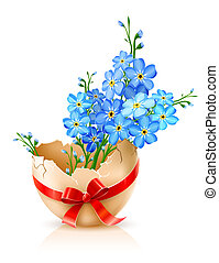 broken egg shell with red bow and forget-me-not flowers...