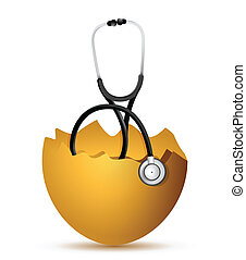 broken egg with a Stethoscope