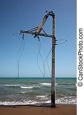 Broken electrical post