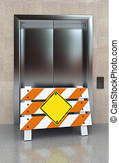 Broken elevator concept with construction barrier and blank...