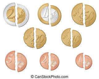 broken euro coins