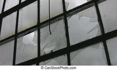 Broken factory window. Timelapse,