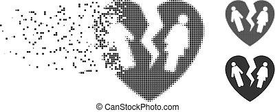 Broken Family Heart Destructed Pixel Halftone Icon