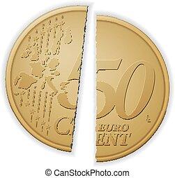 Broken fifty euro cent