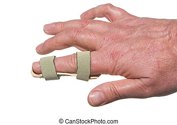 Broken Finger - A broken finger in a temporary splint.