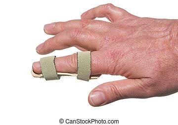 Broken Finger - A broken finger in a temporary splint.