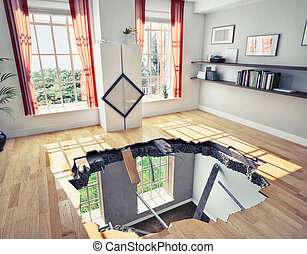 floor - broken floor of a residential apartment (illustrated...