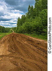 Broken forest dirt road. - Broken clay dirt forest road on a...