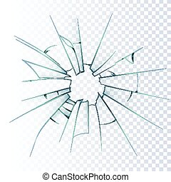 Broken Frosted Glass Realistic Icon - Broken frosted window...