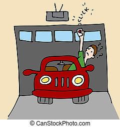 Broken Garage Door Opener - An image of a man trying to open...