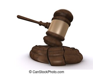broken gavel pad - 3d rendered illustration of a gavel and a...
