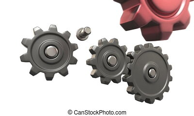 broken gears system, 3d animation