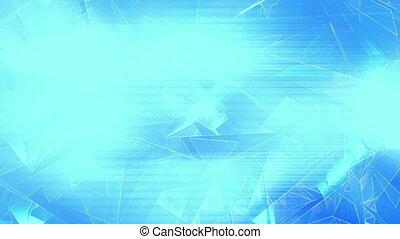 Broken geometric shapes low poly loop in blue