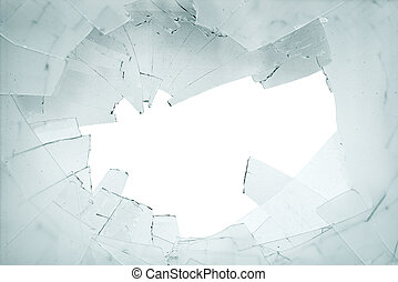 Broken glass and shards - Broken window. Shards of glass on...