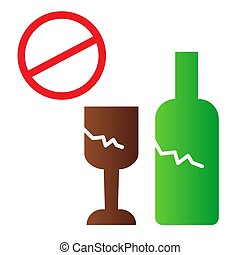 Broken glass ban flat icon. No glass or bottles color icons in trendy flat style. Broken package prohibited gradient style design, designed for web and app. Eps 10.