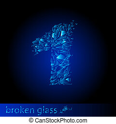 Broken glass - digit one