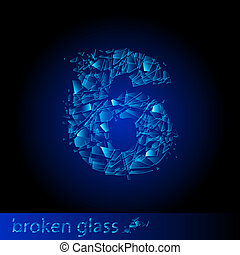 Broken glass  - digit six