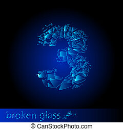 Broken glass - digit three