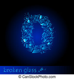 Broken glass - digit zero