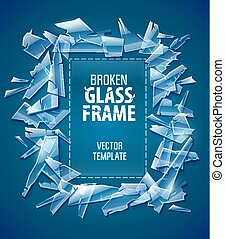 Broken glass frame decorative element for design - Broken...